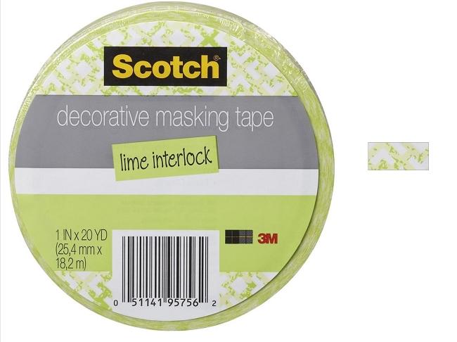 3m scotch decorative masking tape 1 x 20 yards lime interlock - Decoration masking tape ...