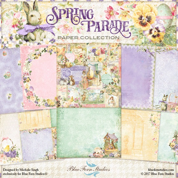 Blue Fern Studios - Spring Parade Collection (paper, chipboard, stamps, flowers)