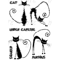 Katzelkraft - A5 Unmounted Rubber Stamp Sheet - Les Furieux (Angry Cats) (5.5