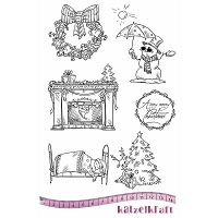 Katzelkraft - A5 Unmounted Rubber Stamp Sheet - Noel/Christmas (5.5