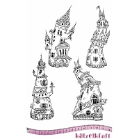Katzelkraft - A5 Unmounted Rubber Stamp Sheet - Les Chateaux (Castles) (5.5