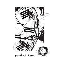 Katzelkraft - A6 Unmounted Rubber Stamp Sheet - Clock Collage/Horloge (4.25