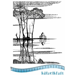 Katzelkraft - A6 Unmounted Rubber Stamp Sheet - Ballade en Velo (Bicycle Ride)