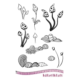 Katzelkraft - A5 Unmounted Rubber Stamp Sheet - Les Whimsy Fleurs (5.5