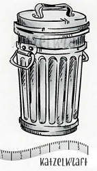 Katzelkraft - Solo Unmounted Rubber Stamp - Trash Can