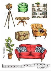 Katzelkraft - A5 Unmounted Rubber Stamp Sheet - Dans Mon Salon/In My Living Room (5.5