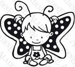 Aladine Wood Stamp - Butterfly Girl