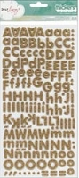 American Craft - 5th & Frolic Collection - Thickers Glitter Foam Alphabet Stickers - Fox/Gold