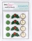 American Crafts - Variety Brads (resin & pearl) - Christmas