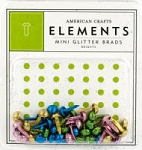 American Crafts Glitter Mini Brads - Brights