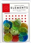 American Crafts Glitter Buttons - Primaries