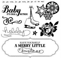 American Crafts - Dear Lizzy Christmas Collection - Clear Stamps - Wonderland