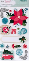 American Crafts - Dear Lizzy Christmas Collection - Layered Dimensional Stickers - Remarks - Joy