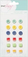 American Crafts - Lucky Charm Collection - Dear Lizzy - Charm Adhesive Mini Buttons & Shapes