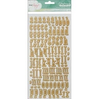 American Crafts - Thickers - Dear Lizzy - 5th & Frolic Collection - Alphabet Stickers - Foil Primrose / Gold