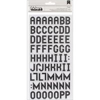 American Crafts - Thickers - Kringle & Co. Collection - Alphabet Stickers - Glossy Chipboard Kringle / Black