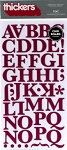 American Crafts Thickers Chipboard Stickers - Typo Mulberry