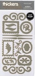 American Crafts Thickers Chipboard Stickers - Accents Metallic Silver