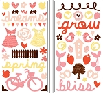 American Crafts Thickers Printed Chipboard Stickers - Bliss Accents Multi