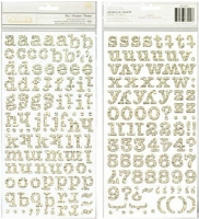 American Crafts - Thickers - Sleigh Ride Collection - Chipboard Alphabet Stickers - Newsprint with Glitter Spray
