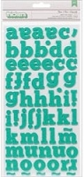 American Crafts - XOXO Collection - Thickers Alphabet Stickers - Glitter Foam Dear / Robin's Egg