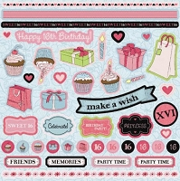 Best Creation - Sixteen Candles Collection - Glitter Element Stickers