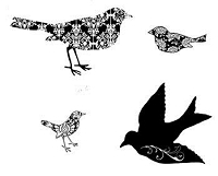 B-Line Designs - Cling Stamp - Damask Birds Cube (set of 4 stamps)
