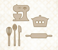 Blue Fern Studios - Chipboard - Cute Kitchen Set