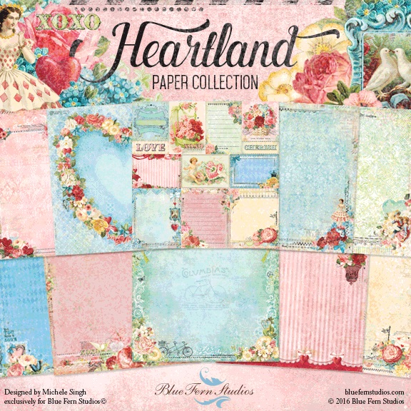 Blue Fern Studios - Heartland Collection (paper, chipboard, stamps, flowers)