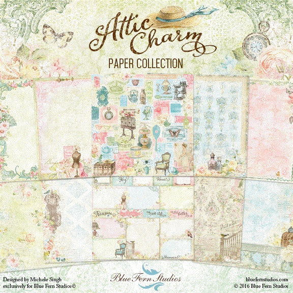 Blue Fern Studios - Attic Charm Collection (paper, stamps, chipboard, flowers)