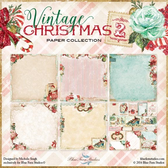 Blue Fern Studios - Vintage Christmas Collection (paper, chipboard, flowers)