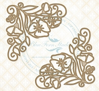 Blue Fern Studios - Chipboard - Swirled Floral Corners Large