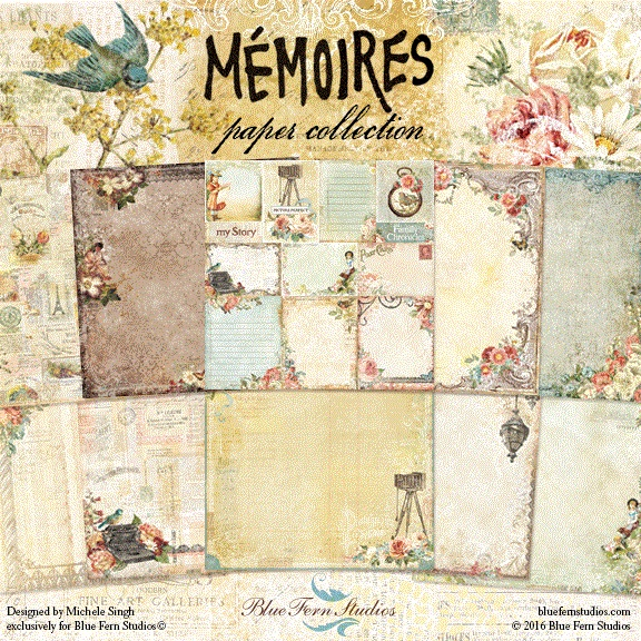 Blue Fern Studios - Memoires Collection (paper, chipboard, flowers)