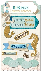 Bo Bunny - Down By The Sea Collection - Layered Chipboard Stickers