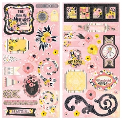 Bo Bunny - Petal Lane Collection - Chipboard Accent Stickers