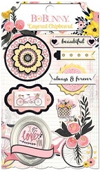 Bo Bunny - Petal Lane Collection - Layered Chipboard Stickers