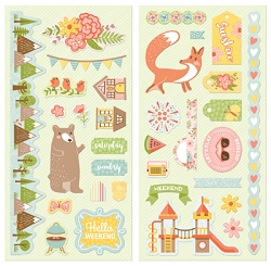 Bo Bunny - Weekend Adventures Collection - Chipboard Accent Stickers