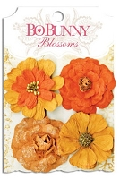 Bo Bunny - Blossoms - Zinnia - Harvest Orange