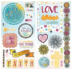 Bo Bunny - Faith Collection - Chipboard Accent Stickers