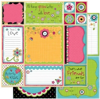 Bo Bunny - Petal Pushers Collection - 12x12 Double Sided Paper - Petal Pushers Cut Outs