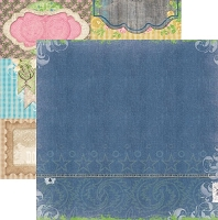 Bo Bunny - Prairie Chic Collection - 12x12 Paper - Stonewashed Denim