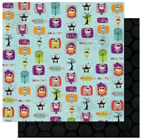 Bo Bunny - Whoo-Ligans Collection - 12x12 Double Sided Paper - Whoo-Ligans Madness