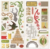 Bo Bunny - Christmas Collage Collection - Chipboard