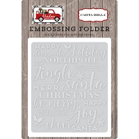 Carta Bella - Christmas Delivery Collection - Holiday Phrases Embossing Folder