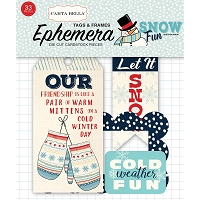 Carta Bella - Snow Fun Collection - Die Cut Tags & Frames
