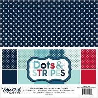 Echo Park - Dots & Stripes Collection - Winter Silver Foil Dots Paper Pack