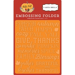 Carta Bella - Hello Fall Collection - Give Thanks Embossing Folder