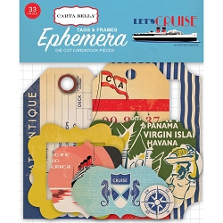 Carta Bella - Let's Cruise Collection - Die Cut Tags & Frames