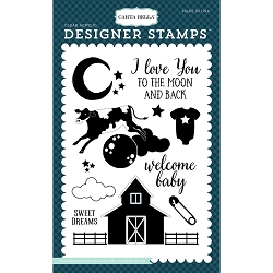 Carta Bella - Rock-a-Bye Baby Boy Collection - Rock-a-Bye Baby Boy To The Moon & Back Clear Stamp