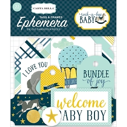Carta Bella - Rock-a-Bye Baby Boy Collection - Die Cut Tags & Frames